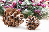 Pine cones in Christmas setting
