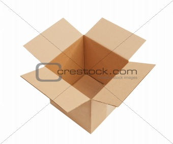 Open cardboard box, isolated