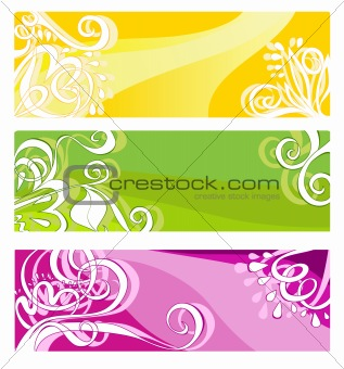 Bright banners with floral elements