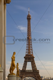 Eiffel Tower and Statues