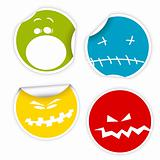 Set of Halloween smiles labels