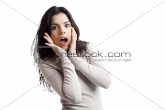 Astonished young woman