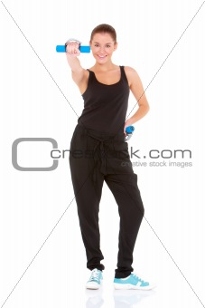Fitness woman working out with free weights