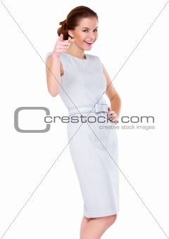 Business woman standing isolated