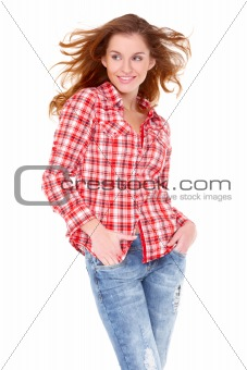 Lovely young woman in casual clothing
