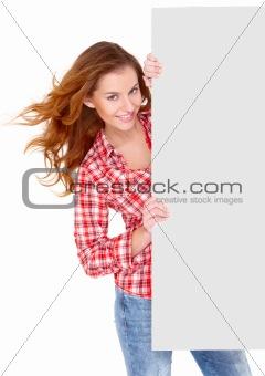 beautiful woman holding copyspace card