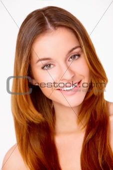 Beautiful young woman on white