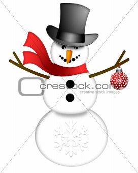 Snowman with Top Hat Isolated on White Background