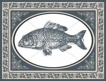 Fish antique vector illustration