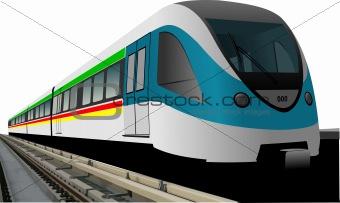Blue modern speed bullet train vector. Fast suburban, subway, me