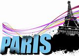 3D word Paris on the Eiffel tower grunge background. Vector illu