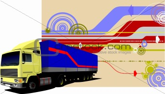 Abstract hi-tech background with lorry image. Vector illustratio