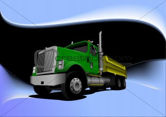 Abstract black-blue background with green  truck image. Vector i