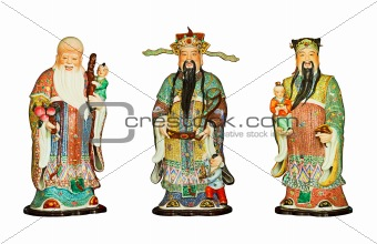 Ancient statues isolated on white