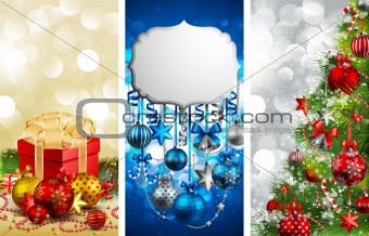 Christmas banners with baubles