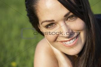 Portrait Of Woman In Summer Field