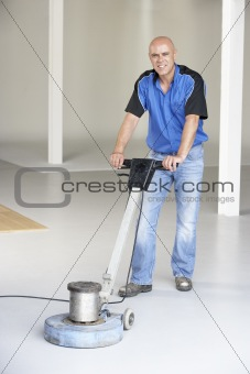 Cleaner polishing office floor