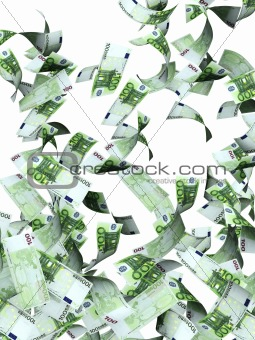 Flying euro banknotes
