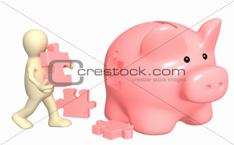 Puppet, piggy bank and puzzles