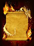 Dragon, fire and scroll of old parchment