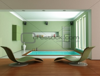 green minimalist luxury bathroom