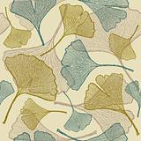 Seamless ginkgo background