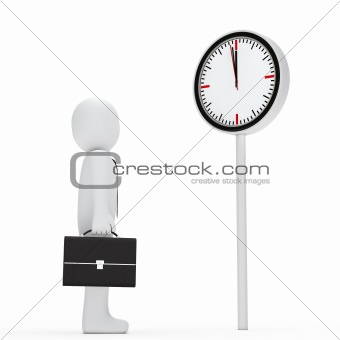 business stand befor a clock