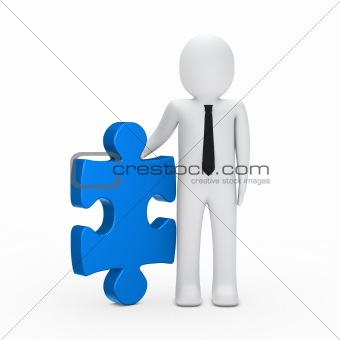 business man hold a puzzle blue