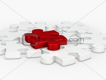 3d red puzzle piece