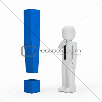 businessman blue exclamation mark