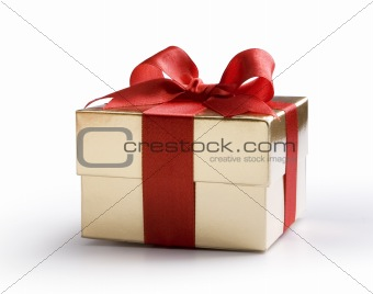 Art gold box with red bow