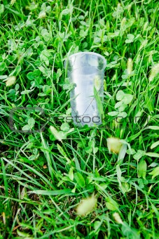 Plastic glass on a green grass