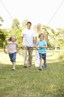 Family having fun in countryside
