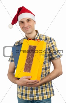 man holding shopping bags of Christmas presents
