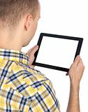 Man holds tablet computer