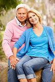 Senior Couple Sitting On Wall