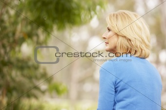 Back View Of Thoughtful Senior Woman