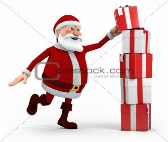 santa stacking presents