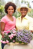 Senior Woman With Adult Daughter Gardening Together