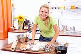 Sexy woman baking cake