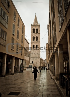 Stone paved dalmatian street in Zadar