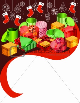 Greeting card with hanging Santa socks
