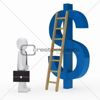 business man ladder dollar blue