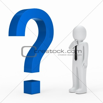 businessman blue question mark