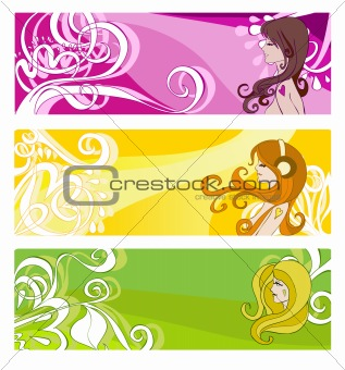 Bright banners with floral elements and women