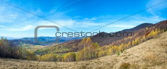 Autumn country mountain landscape (Carpathian, Ukraine).