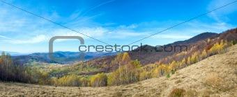 Autumn country mountain landscape (Carpathian, Ukraine).