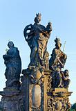 The statue on Charles Bridge (Prague, Czech Republic).