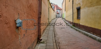 Old town street in Vilnius, Lithuania
