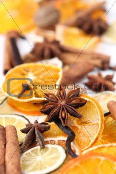 Christmas spices background